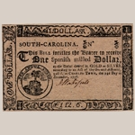 Fig. 17: South Carolina currency ($1) with engraving by Thomas You; Charleston, SC; 1776. Ink on paper. Private collection.