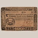 Fig. 18: South Carolina currency ($20) engraved by Thomas You; Charleston, SC; 1776. Ink on paper. Private collection.