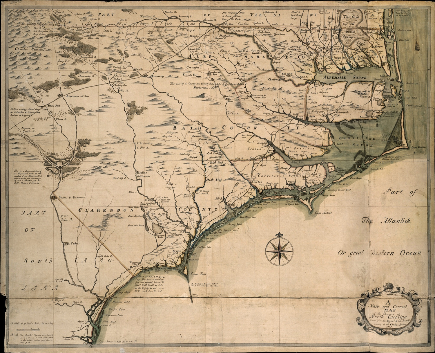 North Carolina Colony Map A New and Correct Map of the Province of North Carolina: The