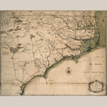 "Fig. 1: ""A New and Correct MAP of the Province of North Carolina drawn from the Original of Col. Mosely's [sic] Survey by J. Cowley, London 1737."" Ink on paper; HOA: 22-1/2"", WOA: 28"". Private collection."