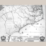 "Fig. 4: ""A New and Correct Map of the Province of North Carolina By Edward Moseley, late Surveyor General of the said Province 1733""; engraved by John Cowley; London, England; 1736. Ink on paper; HOA: 45-1/4"", WOA: 57-1/8"". Collection of East Carolina University; #MC0017, Manuscripts and Rare Books Department, J. Y. Joyner Library, East Carolina University, Greenville, North Carolina, USA."