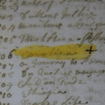 "Fig. 22: Detail of the ""Carolina"" map entry from the inventory of Arthur Dobbs's library. Dobbs Papers (D162), Public Record Office of Northern Ireland (PRONI)."
