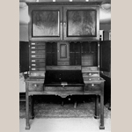 Fig. 8: Estate Cabinet; Ireland; c. 1760. Mahogany with unrecorded secondary woods. Location unknown, photograph in the Knight of Glin Papers, Special Collections Library, University of Limerick, Ireland.