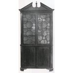 Fig. 12: Corner cupboard; Norfolk, Virginia; circa 1770. Current location unknown (illustrated in Paul Burroughs, Southern Antiques [Richmond, VA: Garrett and Massie, 1939]).