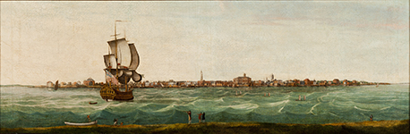 """View of Charles-Town"" by Thomas Leitch; Charleston, SC; 1774. Oil on canvas; HOA: 20-1/4"", WOA: 60"". MESDA Acc. 2024.30."