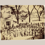 Fig. 1: Slaves, J.J. Smith's Plantation, South Carolina by Timothy H. O'Sullivan (b.c.1840–1882), Beaufort, SC, 1862. Albumen print;