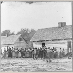 Fig. 2: Photograph, Large group of ex-slaves at Smith's plantation, Beaufort, SC, by Timothy H. O'Sullivan (b.c.1840–1882), Beaufort, SC, 1862.Albumen print. Collection of the Library of Congress, acc. 3b15290u.