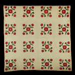 "Fig. 9: ""Rose of Sharon"" quilt by Eliza Ann Raney (1829–1919) and unnamed enslaved seamstresses, Kentucky, c.1843. Cotton; appliqué; HOA: 82"", WOA: 83-3/4"". Collection of the Kentucky Historical Society, Leon R. Gleaves Jr. Collection, acc. 1983.23."