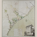 "Fig. 8: ""A MAP of SOUTH CAROLINA and a PART of GEORGIA"" drawn by William DeBrahm, engraved by Thomas Jefferys, 1757, London. HOA: 55"", DOA: 47-1/2"". MESDA Collection, Gift of Frank L. Horton, Acc. 3024-2."