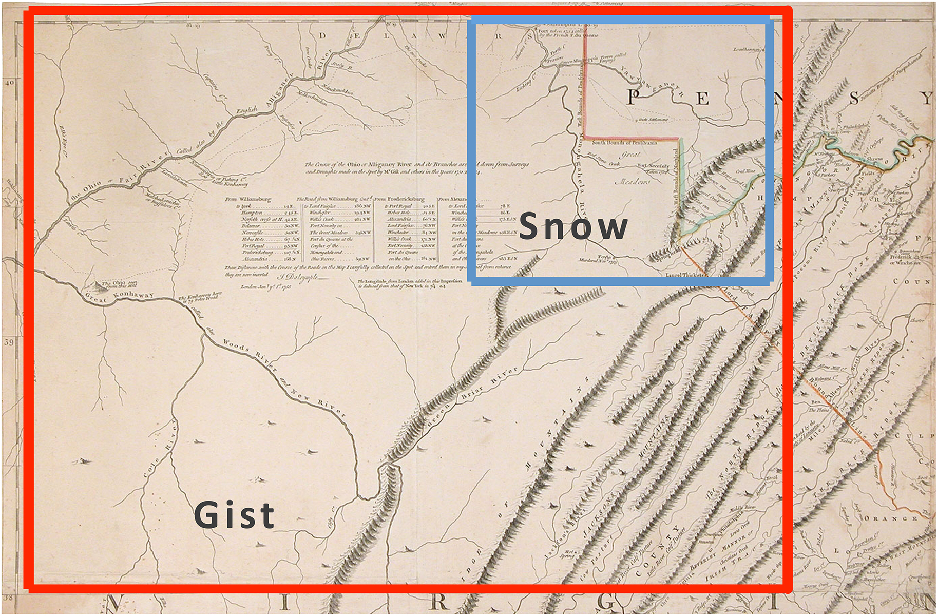 Fig 22 Regions Compiled From Information Provided By Christopher Gist And Captain Snow