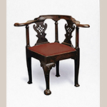 "Fig. 9: Corner chair attributed to Robert Walker, 1745–1750, King George County, VA. Walnut with beech; HOA: 33-1/2"", WOA: 23"", DOA: 26"". Private collection; MESDA Object Database file NN-2276; Photograph courtesy of Sumpter Priddy III Fine Antiques and Art."