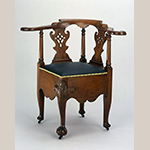 "Fig. 10: Corner chair attributed to Robert Walker, 1745–1750, King George County, VA. Walnut with beech; HOA: 34"", WOA: 23"", DOA: 26"". Collection of the Colonial Williamsburg Foundation, Acc. 2004-11; Photograph by Hans Lorenz."