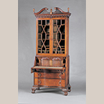 "Fig. 14: Desk and bookcase by John Shearer, 1801 (desk) and 1806 (bookcase), Martinsburg, VA (now WV). Walnut and cherry with mulberry, yellow pine, and oak; HOA: 106-1/8"", WOA: 45"", DOA: 24-1/2"". MESDA Acc. 2979."