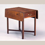 "Fig. 22: Breakfast table possibly from the shop of Thomas Arbuthnot, 1765–1780, Petersburg, VA. Mahogany with tulip poplar and white pine; HOA: 27-3/4"", WOA (open): 36-1/4"", DOA: 30"". Collection of the Colonial Williamsburg Foundation, Acc. 1969-185."
