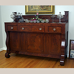 "Fig. 35: Sideboard by John C. Burgner, 1839, Greene Co., TN. Mahogany and mahogany veneer with tulip poplar; HOA: 56-1/2""; WOA: 72-7/8""; DOA: 25-7/8"". Private collection, MESDA Object Database file D-32546."