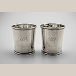 "Fig. 7: Pair of beakers marked by Asa Blanchard (with manufacturer mark of John McMullin, Philadelphia, PA), 1810-1820, Lexington, KY. Silver; HOA: 3-1/4"", DIA (at top): 3"", DIA (at bottom): 2-1/2"". MESDA Acc. 5779.2-3, James H. Willcox Jr. Silver Purchase Fund."