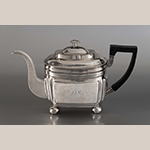 "Fig. 8: Teapot marked by Asa Blanchard (with manufacturer mark of John McMullin, Philadelphia, PA), 1810-1820, Lexington, KY. Silver; HOA: 5-3/4"", WOA: 12"", DOA: 4-1/2"". Collection of the Colonial Williamsburg Foundation, Acc. 2013.26, Photograph by Craig McDougal."