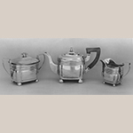 "Fig. 19: Three-piece tea service marked by Asa Blanchard, ca. 1825, Lexington, KY. Silver; HOA (of teapot): 7"". Private Collection; Photograph courtesy of the Winterthur Museum, Decorative Arts Photographic Collection (DAPC), 82.3273."