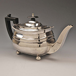 "Fig. 24: Teapot marked ""T D"", 1809, London, England. HOA: 6-1/3""; WOA: 11-1/2"". Private Collection, Photograph courtesy of Tarvier Antiques, Lincoln, England. Online: http://www.tarvier.co.uk/teapots-teasets/silver-georgian-teapot-1809.html (accessed 22 December 2014)."