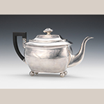 "Fig. 25: Teapot marked by Hugh Wishart, 1810-1819, New York, NY. Silver; HOA: 7- 1/2"", WOA: 13""; DOA: 5"". Private Collection, Photograph courtesy of Aspire Auctions, Pittsburgh, PA; Cleveland, OH; and Chicago, IL. Online: http://www.aspireauctions.com/#!/catalog/311/1326/lot/46847 (accessed 22 December 2015)."