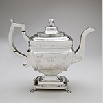 "Fig. 26: Teapot marked by Samuel Richards Jr., 1810, Philadelphia, PA. Silver; HOA: 10-3/4"", WOA: 13"", DOA: 5-3/4"". Collection of the Philadelphia Museum of Art, Acc. 2005-68-60, Gift of the McNeil Americana Collection."