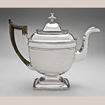 "Fig. 32: Teapot marked by John McMullin, ca. 1821, Philadelphia, PA. Silver; HOA: 9"", WOA: 8-9/16"", DOA: 4-3/8"". Collection of the Philadelphia Museum of Art, Acc. 1995- 22-3, Gift of Julia B. Waxter in memory of her mother, Rachel Reaney Baldwin, and her grandfather, James Reaney, Jr."