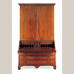"Fig. 4: Desk and bookcase signed by Jacob Sass, 1794, Charleston, SC. Mahogany and mahogany veneer with yellow pine, cypress, and white pine; HOA: 108"", WOA: 61-1/4"", DOA: 26"". Historic Charleston Foundation Acc. 2008.15.01; Collection fund purchase with contributions by Douglas H. Sass, Herbert R. Sass III, and Mary Witsell, and through prior gift of Lt. Gov. Nancy Stevenson. Photograph by Gavin Ashworth, NYC. MESDA Object Database file S-21103."