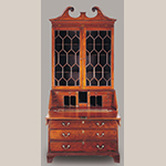 "Fig. 7: Desk and bookcase attributed to the Martin Pfeninger Shop, 1770-1780, Charleston, SC. Mahogany and mahogany veneer with cypress, white pine, and yellow pine; HOA: 97-3/4"", WOA: 44-1/2"", DOA: 25"". Hofwyl-Broadfield Plantation Historic Site, Brunswick, GA (Georgia Department of Natural Resources). Photograph by Gavin Ashworth, NYC. MESDA Object Database file S-14657."