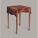 "Fig. 8: Breakfast table attributed to the Martin Pfeninger Shop, 1775–1780, Charleston, SC. Mahogany and mahogany veneer with cypress and ash; HOA: 28-7/8, WOA (open): 35-3/4, WOA: (closed): 21-1/2"", DOA: 24-3/4"". MESDA Acc. 4455. MESDA Object Database file S-1696."