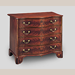 "Fig. 9: Chest of drawers attributed to the Martin Pfeninger Shop, 1775-1782, Charleston, SC. Mahogany and mahogany veneer with mahogany, yellow pine, and cypress; HOA: 34"", WOA: 41-1/2"", DOA: 24-1/4"". Colonial Williamsburg Foundation Acc. 1980-149; Bequest of Gertrude H. Peck. MESDA Object Database file NN-1610."