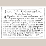Fig. 10: Advertisement for the Jacob Sass Shop, South Carolina Weekly Gazette (Charleston), 19 December 1783.