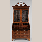 "Fig. 16: Desk and bookcase attributed to the Jacob Sass Shop, 1790–1800, Charleston, SC. Mahogany and mahogany veneer with white pine; HOA: 98-3/4"", WOA: 45"", DOA: 25"". Private collection. Photograph courtesy of Brunk Auctions. MESDA Object Database file S-14460."