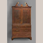 "Fig. 19: Linen press attributed to the Jacob Sass Shop, 1785-1795, Charleston, SC. Mahogany with white or yellow pine and cypress; HOA: 94"", WOA: 50-1/2"", DOA: 24-1/2"". Drayton Hall, a historic site of the National Trust for Historic Preservation, Acc. NT 98.6.1, Gift of Mr. Charles H. Drayton III. Photograph by Craig McDougal, courtesy of Colonial Williamsburg Foundation. MESDA Object Database file D-32528."