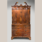 "Fig. 20: Linen press attributed to the Jacob Sass Shop, 1785-1795, Charleston, SC. Mahogany and mahogany veneer with cypress and white pine; HOA: 96"", WOA: 51"", DOA: 24-1/2"". The John Rivers Collection, Charleston, SC. MESDA Object Database file D-32525."