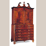 "Fig. 22: Secretary linen press attributed to the Jacob Sass Shop, 1785-1795, Charleston, SC. Mahogany and mahogany veneer with cedrella, red cedar, white pine, and cypress; HOA: 82-3/4"", WOA: 55-3/4"", DOA: 28-3/4"". The John Rivers Collection, Charleston, SC. Photograph by Gavin Ashworth, NYC. MESDA Object Database file S-27076."