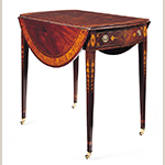 "Fig. 27: Breakfast table attributed to the Jacob Sass Shop, 1790-1795, Charleston, SC. Mahogany and mahogany veneer with white pine, tulip poplar, and cherry; HOA: 28-1/4"", WOA (open): 40-1/4"", WOA (closed): 19-5/8"", DOA: 31-3/8"". The Kaufman Collection, Norfolk, VA. Photograph by Gavin Ashworth, NYC. MESDA Object Database file S-29219."