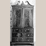 "Fig. 30: Linen press, 1795-1805, Charleston, SC. Mahogany and mahogany veneer with cypress, tulip poplar, mahogany, and white pine; HOA: 93"", WOA: 47-1/4"", DOA: 22-3/4"". Private collection. MESDA Object Database file S-8344."