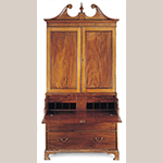 "Fig. 31: Secretary bookcase, 1795-1805, Charleston, SC. Mahogany and mahogany veneer with red cedar and white pine; HOA: 99-1/4"", WOA: 49-1/2"", DOA: 24"". Private collection. Photograph by Gavin Ashworth, NYC. MESDA Object Database file S-29209."
