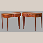 "Fig. 7: Pair of games tables attributed to Porter Clay, 1800-1810, Lexington, KY. Cherry and cherry veneers with walnut, cherry, tulip poplar and light and dark wood inlay; HOA: 29-5/8"", WOA: 36-1/4"", DOA: 17-3/4"". Private collection; photograph by Bill Roughen."