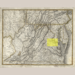 "Fig. 1: ""A New Map of Virginia with Maryland, Delaware & v.,"" Samuel Lewis and William Hooker, published by T. L. Plowman, Philadelphia, 1814. Ink on paper; HOA: 20-7/8"", WOA: 26-3/4"". Collection of the Library of Congress, Geography and Map Division, G3790 1814. L4, Washington, DC."