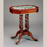 Fig. 14: Stand with marble inset by Charles Honnore Lannuier (1779–1819), 1810–1815, New York, NY. Mahogany with marble, white pine, tulip poplar, and maple. Collection of the White House Historical Association, Acc. 889.