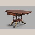 """Fig. 17: Breakfast Table by James Woodward (w.1793–1839), 1819, Norfolk, VA. Mahogany with mahogany, tulip poplar, white pine, and sycamore; HOA: 27-5/8""""; WOA: 50-3/4""""; DOA: 38"""". MESDA, Acc. 3813."""