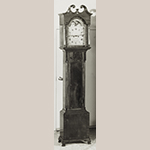 Fig. 33: Tall case clock with case by an unidentified Fredericksburg, VA cabinetmaker and movement by John Weidemeyer (w.c.1800–1822), 1810–1820, Fredericksburg, VA. Mahogany and cherry with yellow pine; HOA: 97″, WOA: 19-1/2″ (hood), DOA: 11″ (hood). Private collection; MESDA Object Database File S-17057.
