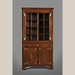 "Fig. 6: Corner cupboard attributed to the shop of Hugh McAdams, 1800–1815, Washington Co., TN. Walnut with tulip poplar and lightwood inlay (probably holly); HOA: 92"", WOA: 48"", DOA: 29"". MESDA Collection, Acc. 5660.2."