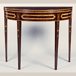 "Fig. 30: Card table, 1775–1800, Baltimore, MD. Mahogany and mahogany veneer with white pine and oak (fly gate) and satinwood and other exotic wood inlays; HOA: 29-5/8"", WOA: 35-3/4"", DOA: 17-5/8"". Collection of the Maryland Historical Society, Acc. 69.65.1; MESDA Object Database file S-10050."
