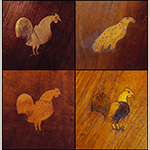 Fig. 40: Sampling of gamecock inlay from the corner cupboards illustrated (clockwise from top left) in Figs. 45, 43, 49, and 47.