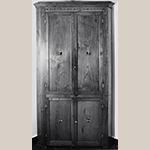 "Fig. 49: Corner cupboard, ca. 1810, Washington Co. or Greene Co., TN. Walnut with tulip poplar and lightwood inlay; HOA: 84"" (feet missing), WOA: 38"". Private collection; MESDA Object Database file S-7380."