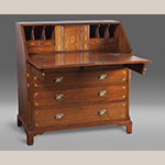"Fig. 56: Desk attributed to the shop of Hugh McAdams, 1800–1810, Washington Co., TN. Walnut with unidentified secondary woods; HOA: 43-5/8"", WOA: 41"", DOA: 22-1/8"". The Noe Collection, Speed Museum of Art, Acc. 2011.9.66, Louisville, KY; Gift of Robert and Norma Noe. Photography by Bill Roughen."