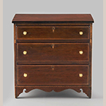 "Fig. 69: Chest of drawers, 1820–1840, probably Greene Co., TN. Cherry with basswood and maple inlay; HOA: 28-1/2"", WOA: 29"", DOA: 17-1/4"". Collection of the Colonial Williamsburg Foundation, Acc. 2013-60, Museum Purchase, The Sara and Fred Hoyt Furniture Fund, Williamsburg, VA."