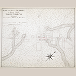 """Fig. 1: """"PLAN of the Town of SALISBURY in Rowan County. NORTH CAROLINA"""" surveyed and drawn by Claude Joseph Sauthier (1736–1802), March 1770. Ink and watercolor on paper; HOA: 43 cm; WOA: 53 cm. Collection of the British Library, Cartographic Items Maps K.Top.122.61, part of King George III's Topographical Collection, donated to the nation by George IV, 1829."""